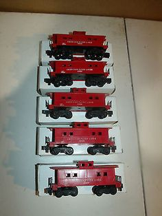 Lot of 5 NOS Vintage American Flyer Lines 24636 Caboose Red Gilbert