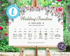 Wedding Timeline Sign / Wedding Itinerary Agenda Icons / | Etsy Garden Wedding, Diy Wedding, Dream Wedding, Sign Templates, Wedding Templates, Wedding Reception Schedule, Led Diy, Wedding Timeline, Custom Fonts