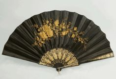 Black silk fan with gold embroidery, 1880.