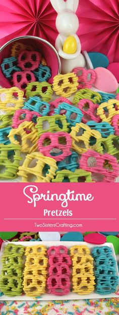Springtime Pretzels - sweet, crunchy and delicious - an easy to make Easter Dessert that would be fun to serve at a spring brunch or Easter Dinner. The kids will love to help make this delicious Easter treat. Pin this yummy Easter Candy for later and follow us for more fun Easter Food Ideas. #EasterDessert #EasterTreats #EasterCandy #EasterFood