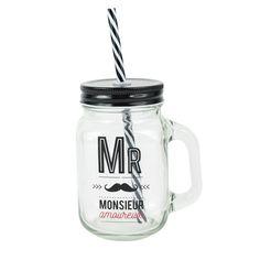 """Gobelet en verre avec paille """"Monsieur Amoureux""""   The Concept Factory"""