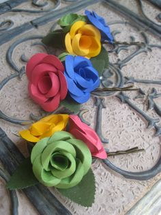 Paper Flower Rose Hair Pieces You CHOOSE THE by TreeTownPaper, $32.00