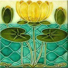 Art Nouveau Ceramic decorative wall tile 6 X 6 Inches #86