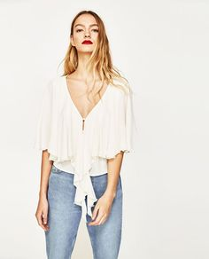 67d2088592660 Image 2 of CAPE SLEEVE BLOUSE WITH BOW from Zara Zara United Kingdom, Bow  Blouse