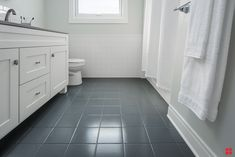 Bathroom floor tile can look new again with the easy DIY one-coat application of. - Bathroom floor tile can look new again with the easy DIY one-coat application of Rust-Oleum HOME. Painted Bathroom Floors, Painting Bathroom Tiles, Painting Tile Floors, Bathroom Floor Tiles, Painted Floors, Diy Painting, Wall Tile, Bathroom Wall, Bathroom Ideas