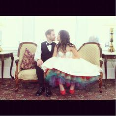 Rainbow Tulle Wedding Dress i love it cuz it's so different. Rainbow Wedding Dress, Colored Wedding Dresses, Tulle Wedding, Wedding Bells, Wedding Colors, Wedding Gowns, Dream Wedding, Wedding Day, Wedding Stuff