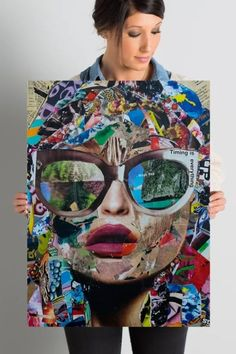 """Graphic Art on Wrapped Canvas: This statement piece showcases a collage of newspaper clippings, cartoons, and photographs that form the silhouette of a woman wearing sunglasses that read """"timing is everything"""" Pop Art Makeup, Deep Art, Canvas Art, Canvas Prints, Dark Ink, Beautiful Collage, Black And White Design, Pretty Art, Abstract Photography"""