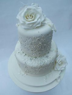 Bling Wedding Cake  - add colors of your choice  ARE THE RHINESTONES EDIBLE??? If not, it'll take a long time to pick them out and everybody will give you their dental bills!
