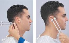 R-An example of a lab/test performed in class. [Rinne Test] The purpose of the Rinne test is to test conductive hearing loss in the ears. It is performed by placing a tuning fork in front of and behind the ear, testing air conduction and bone conduction. People with normal hearing  will hear through air conduction twice as long as bone conduction.