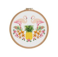 Pineapple cross stitch pattern, Flamingo cross stitch, Hawaii cross stitch…