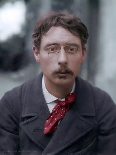 French painter Pierre Bonnard in his early twenties, c.1890. Colourised by Painters in Color.