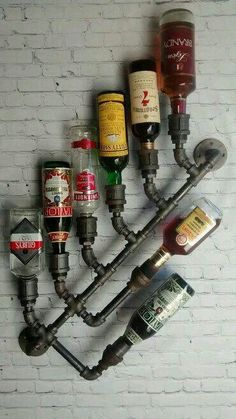 Industrial Wine Rack Bottle Wall Mount Holder Steampunk Black Pipe Bar Loft D. Industrial Wine Rack Bottle Wall Mount Holder Steampunk Black Pipe Bar Loft D…, Industrial Wine Racks, Loft Industrial, Industrial Style Furniture, Pipe Furniture, Building Furniture, Furniture Design, Industrial Bookshelf, Industrial Windows, Industrial Restaurant
