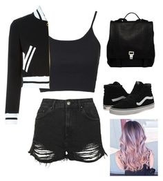 """""""Untitled #818"""" by tokyoghoul1 ❤ liked on Polyvore featuring Topshop, Moschino, Vans, Proenza Schouler, women's clothing, women, female, woman, misses and juniors"""
