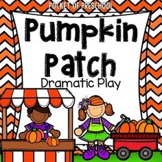 Pumpkin Patch Dramatic Play is a fun theme you can do in your pretend or dramatic play center! Perfect to do in the fall! A teacher planning web breaks the theme down, week by week and includes a book list. There are labels and pictures showing how to set up your pumpkin patch in your dramatic play center. Just print the labels, signs, and make the props.