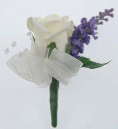 A simple yet stunning ivory foam rose buttonhole with dark lilac silk lavender spray, then finished with light catching crystals, ivy leaf and an ivory org Lilac Roses, Foam Roses, Ivy Leaf, Rose Wedding, Buttonholes, Lavender, Ivory, Silk, Crystals