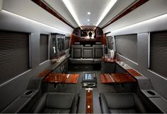Mercedes-Benz Sprinter Van outfitted like a private jet for New York Auto Show Sprinter Van, Mercedes Benz Sprinter, Benz Car, Mercedes Motor, Mercedes Amg, Customised Vans, Luxury Van, Gas Scooter, Automotive Design