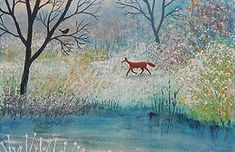 Winter 1 | jogrundyartist Winter Sunset, Winter Art, Canvas Painting Designs, Still Of The Night, Naive Art, Wildlife Art, Pretty Art, Winter Scenes, Mixed Media Art