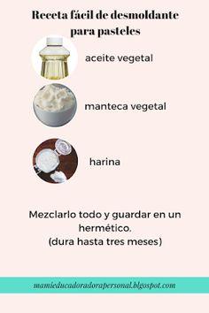 Mami Educadora Personal: Receta fácil para DESMOLDANTE  para pasteles y galletas.