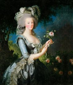 "Marie Antoinette à la Rose, painted in 1783, by Mme Vigée-Lebrun; this is probably the most famous portrait of Marie Antoinette; it was meant to ease the shock caused by the ""muslin"" portrait."