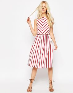 ASOS+Stripe+Picnic+Dress+with+Double+Layer