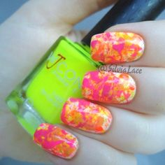 Silvia Lace Nails: Summer splatter nails with lots of bright neons!