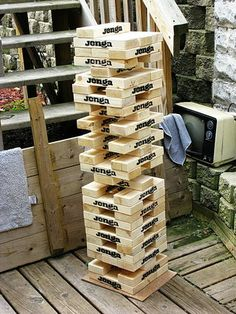 Actual instructions for making the yard-size Jenga sets. Also some websites in the comments if you'd rather purchase.