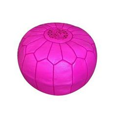 "Showcasing a Moroccan-inspired arch motif and fuchsia hue, this handmade leather pouf is perfect as an extra seat or exotic footrest.     Product: PoufConstruction Material: Genuine leather and shredded foam fillColor: FuchsiaFeatures:    HandmadeCan be used as an ottoman or extra seating Dimensions: 12"" H x 21"" Diameter"