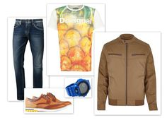 Uwielbiam, kiedy facet wybiera kolorowe stylizacje. A jeszcze bardziej kiedy umiejętnie łączy kolory z klasycznymi formami. Zestaw: T-shirt: Desigual Jeansy: Pepe Jeans Kurtka: River Island Buty: #Conhpol Dynamic Zegarek: Casio