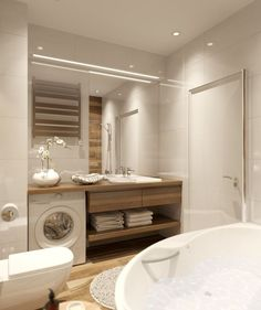 Laundry Room Bathroom, Narrow Bathroom, Laundry Room Design, Bathroom Toilets, Bathroom Layout, Bathroom Interior Design, Bathroom Styling, Bathroom Sinks, Bad Inspiration