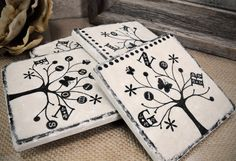 Spunky Person-al-i-Tree Personalized Name Tree Absorbent Stone Tile Drink Coasters.  Great housewarming gift! Set of 4  $34.00