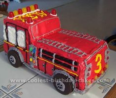 Coolest Kids Cakes – Web's Largest Homemade Birthday Cake Photo Gallery Truck Birthday Cakes, Truck Cakes, Homemade Birthday Cakes, Birthday Fun, Birthday Ideas, Fireman Party, Firefighter Birthday, Fireman Sam, Fancy Cakes