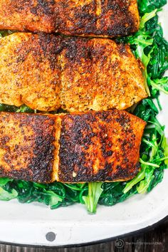 Pan Seared Salmon Recipe with Orange Juice, Wilted Spinach and Arugula  The Mediterranean Dish. It takes less than 15 minutes to prepare this elegant, no-fuss dinner. Season the salmon; sear in olive oil, and add a splash of orange juice. See the step-by-step from @themediterraneandish.