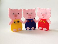 The Three Little Pigs and The Big Bad Wolf by KinkinPuppets on Etsy Felt Finger Puppets, Big Bad Wolf, Three Little Pigs, Creative Kids, Hand Sewing, My Etsy Shop, Pattern, Handmade, Hands