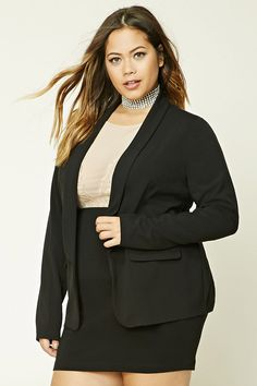 Forever 21+ - A knit blazer featuring a shawl collar, mock flap-pockets, an open front, and long sleeves.