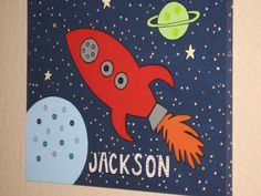 Rocket Ship Kids Wall Art