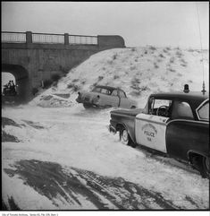 OPP cars in the snow. - 1960 - photographs of OPP (Ontario Provincial Police) cars in the snow. Toronto Snow, Toronto Winter, Toronto Ontario Canada, Vintage Photographs, Vintage Photos, Old Vintage Cars, Car Crash, Police Cars, Law Enforcement