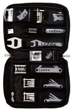 The Lezyne Port-A-Shop is a cycling specific tool kit that is small enough to take traveling, yet functional enough to use in the garage. The kit includes tools for basic maintenance and most repairs. The convenient carrying case, with labeled pockets, keeps tools organized and safe.