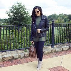 Black leather Moto jacket with tassel booties #fallstyle #fallfashion  Instagram: my.southern.style