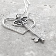 Heart and Key Necklace, Extra Long, Stacking Charms