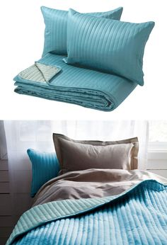 KARIT bedspread - light turquoise bedding adds a fresh pop of color to neutral furnishings.