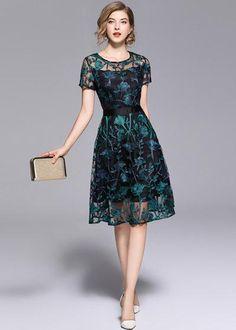 Borisovich Women Casual Dress New 2018 Summer Fashion Vintage Floral Embroidery Knee-length A-line Elegant Female Dresses Mob Dresses, Cute Dresses, Fashion Dresses, Fashion Clothes, Casual Dresses For Women, Dresses For Work, Summer Dresses, Clothes For Women, New Dress