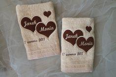 Just Haft: haftowane ręczniki dla młodej pary, embroidered towels for bride and groom
