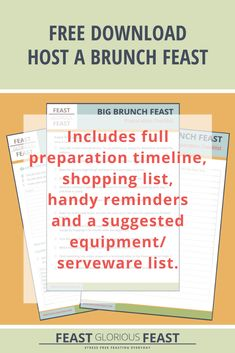 This FREE download includes worksheets to help you plan to host a Big Brunch Feast. It prompts you to plan your guest list, the final menu, and gives advice on everything you need to serve the Feast. It also includes timelines and checklists for preparing the food in advance, preparing the table and food serving area, and hosting on the day. Plus it includes a bonus shopping list!  #FeastGloriousFeast #FreeDownload #FreeChecklist #FreeWorksheet #BrunchFeast #Hosting #Entertaining Get To Know Me, Getting To Know, Buck's Fizz, Guest List, Food Menu, Recipe Collection, Stress Free, First Names, Brunch Recipes