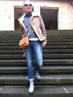 Most praised item? A Shearling jacket #WinterStyle #Basics with Denim, Chelsea Boots and grey turtleneck.