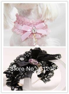 Free shipping  pet dog cat lace necklace collar pet accessories  20pcs/lot