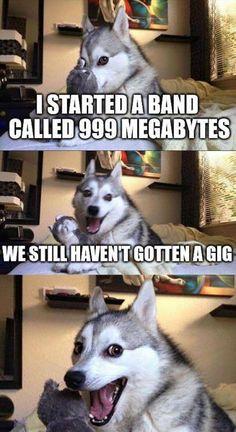 I started a band called 999 megabytes,we still haven't gotten a gig,dog,technical, meme