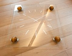Extra clear glass table on wooden wheels