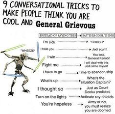 And cough in between General Grevious Star Wars prequel memes funny Star Wars Jokes, Star Wars Facts, Prequel Memes, Star Wars Wallpaper, Last Jedi, Star Wars Characters, Obi Wan, Clone Wars, Lol