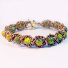 Crochet Beaded Necklace Easy   Bohemian Crochet Jewelry, Beaded Bracelet, Golden Tan and Greens ...
