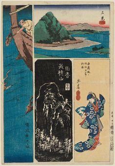 Utagawa Hiroshige: No. 13: Iwami, Izumo, Hôki, and Oki Provinces, from the series Cutout Pictures of the Provinces (Kunizukushi harimaze zue) - Museum of Fine Arts